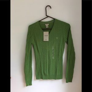 Izod Vneck cable knit sweater Sz S NWT
